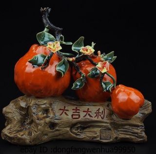 China Pottery Wucai Porcelain Home Display Fengshui Lucky Pear Decoration Statue photo