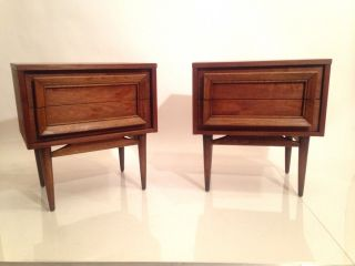 Vintage Mid Century Modern Pair Walnut Nightstands End Tables Danish Style Eames photo