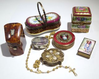 7 French Boxes Limoges Faux Turtle Sterling Silver Cross Brass Enamel Porcelain photo