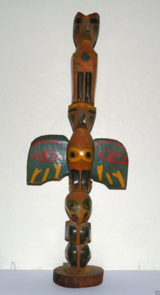 Antique Native American Indian Northwest Coast Wood Totem Sculpture No Res photo