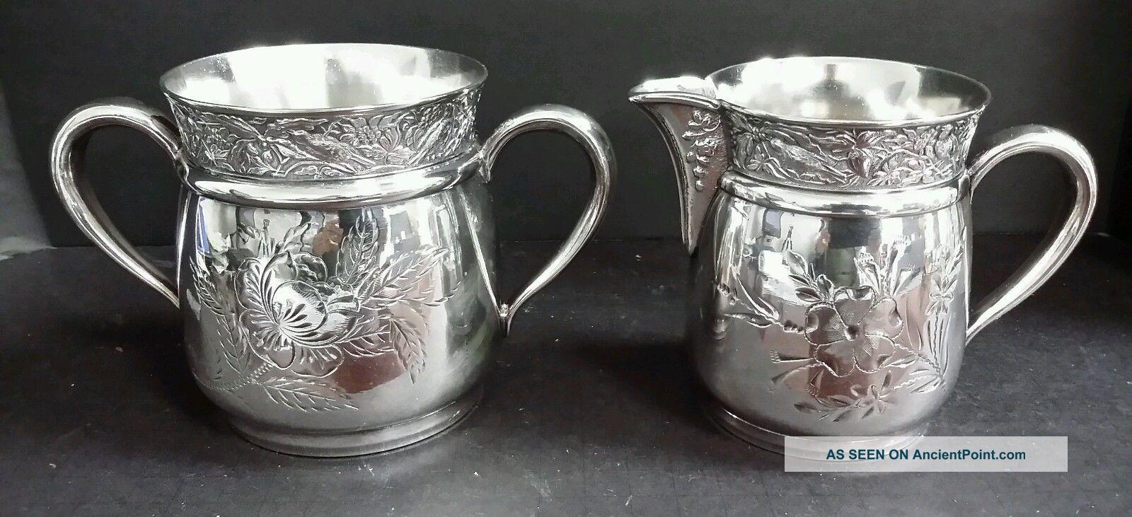 Antique Victorian Osborn & Company Silverplate Ornate Creamer & Sugar Bowl 50 Creamers & Sugar Bowls photo