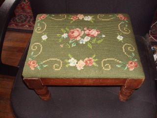 Antique Early To Mid 1900 ' S Needlepoint Footstool photo