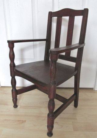 Antique Child ' S Mahogany Slat Back Chair.  Use For Doll Or Bear Display photo