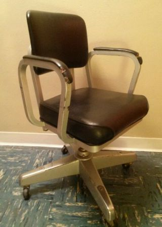 Vtg Industrial Steampunk Metal Executive Task Chair Swivel Office Desk Rolling photo