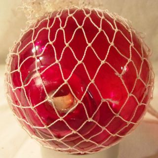 Japanese Netted Red Glass Fishing Net Float/buoy 3 1/8