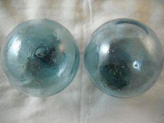 2 Authentic Japanese Bubbly Blues Boys Glass Fishing Floats Alaska Beachcombed photo