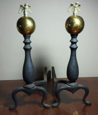 Antique Pair Eagle Andirons Brass & Iron Open Wing Eagles Sitting On Brass Ball photo