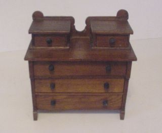 Antique Wood Dresser Chest Salesman Sample Doll Furniture Childs Toy Very Old photo