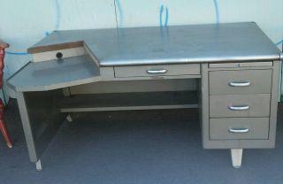 Vintage Shaw Walker Tanker Style Office Desk Industrial Mid - Century Modern Eames photo