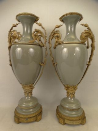 Pair (2) Antique Victorian Style Bronzed Ormolu Porcelain Mantel Garniture Vase photo