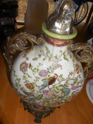 Vintage Chinese Hand - Painted Vase/urn photo