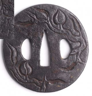 Tsuba Antique Sign包次 Tree Katakiribori Carved Katana Samurai Japanese Sword Edo photo