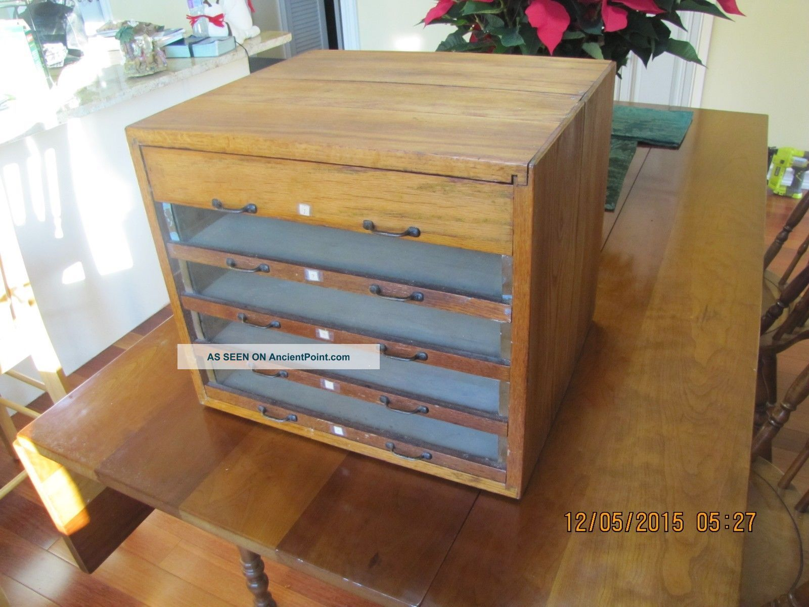 Antique 5 Drawer Glass Front Country Store Spool Cabinet Thread Display Furniture photo