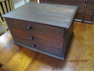Antique Walnut 3 Drawer Eureka Country Store Spool Cabinet Thread Display photo