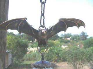 Fabulous Gothic Bat Chandelier Solid Brass Vintage Globe Wow Goth Medieval Nr photo
