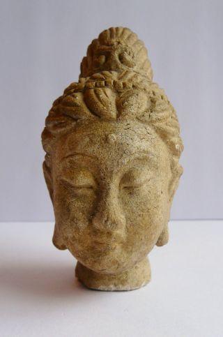 Antiquity Fragment Ancient Chinese Head Guan Yin/ Buddhavista.  Stone/clay? Rare. photo