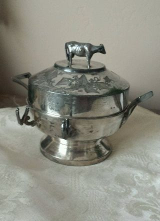 Antique Middletown Victorian Silverplate Butter Dish With Figural Cow Finial photo