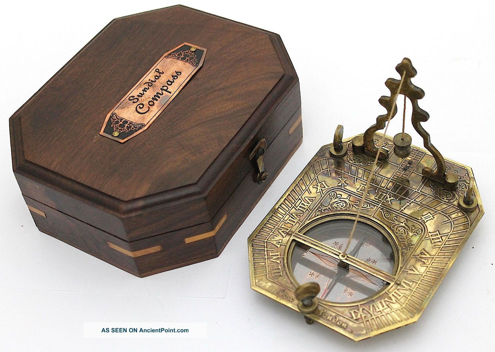 Solid Brass Pendulum Sundial And Compass In Hardwood Box - Brass Sundial Compass Other Maritime Antiques photo
