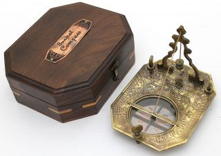 Solid Brass Pendulum Sundial And Compass In Hardwood Box - Brass Sundial Compass photo