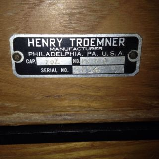 Vintage Henry Troemner 2 Ounce Balance Scale In Glass Top Oak Case 190 Clb photo
