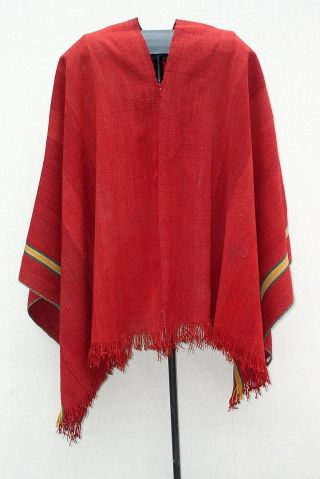 Old Andes Indian Deep Red Wool Poncho Lake Titikaka Bolivia Tm12176 photo