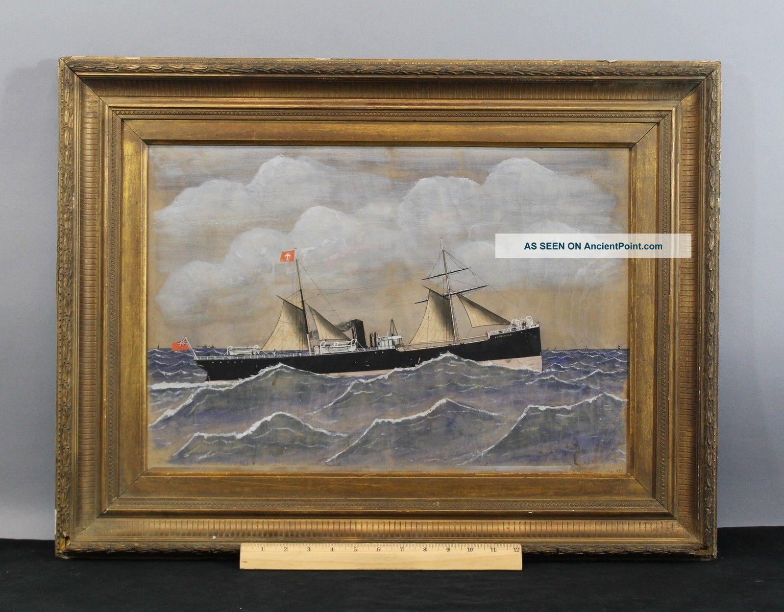 Antique 19thc H.  Johnson Maritime British Steamship Camerata Gouache Painting Other Maritime Antiques photo