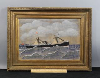 Antique 19thc H.  Johnson Maritime British Steamship Camerata Gouache Painting photo