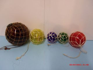 Five Fishing Floats Single Round Vintage?? (5 Different Colors) photo