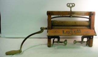 Antique Lovell No 32 Wooden Hand Crank Clothes Tub Washer Wringer Primitive photo
