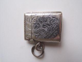 Solid Silver Vesta Case Birmingham 1878/79 photo