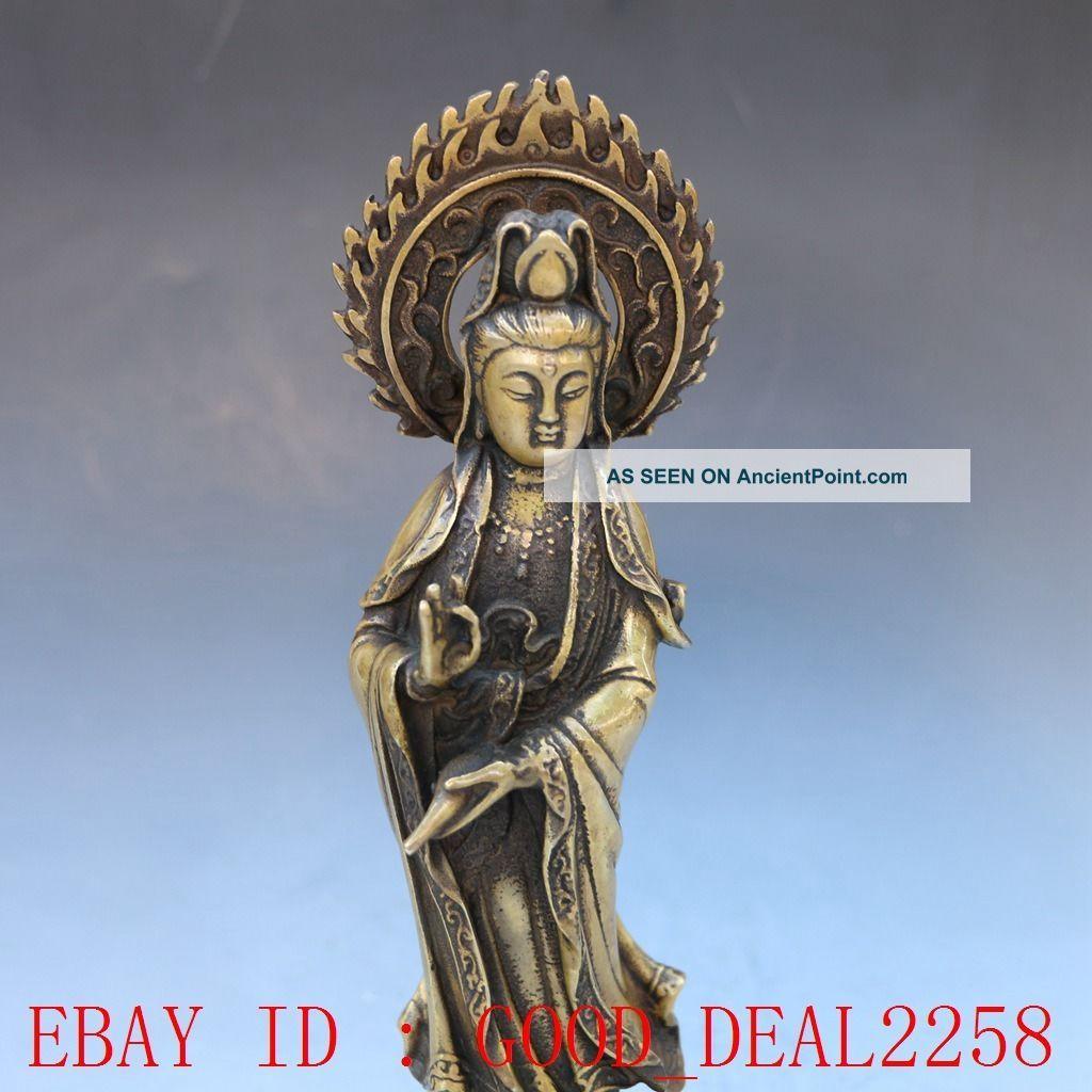Chinese Brassr Handwork Carved Kwan - Yin Statue Buddha photo