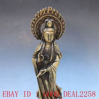 Chinese Brassr Handwork Carved Kwan - Yin Statue photo