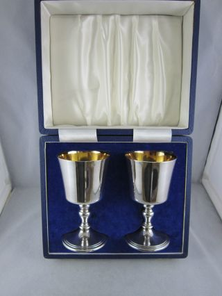 Lovely Cased Solid Silver Goblets - Richly Gilded - 390g London 1973/74 photo