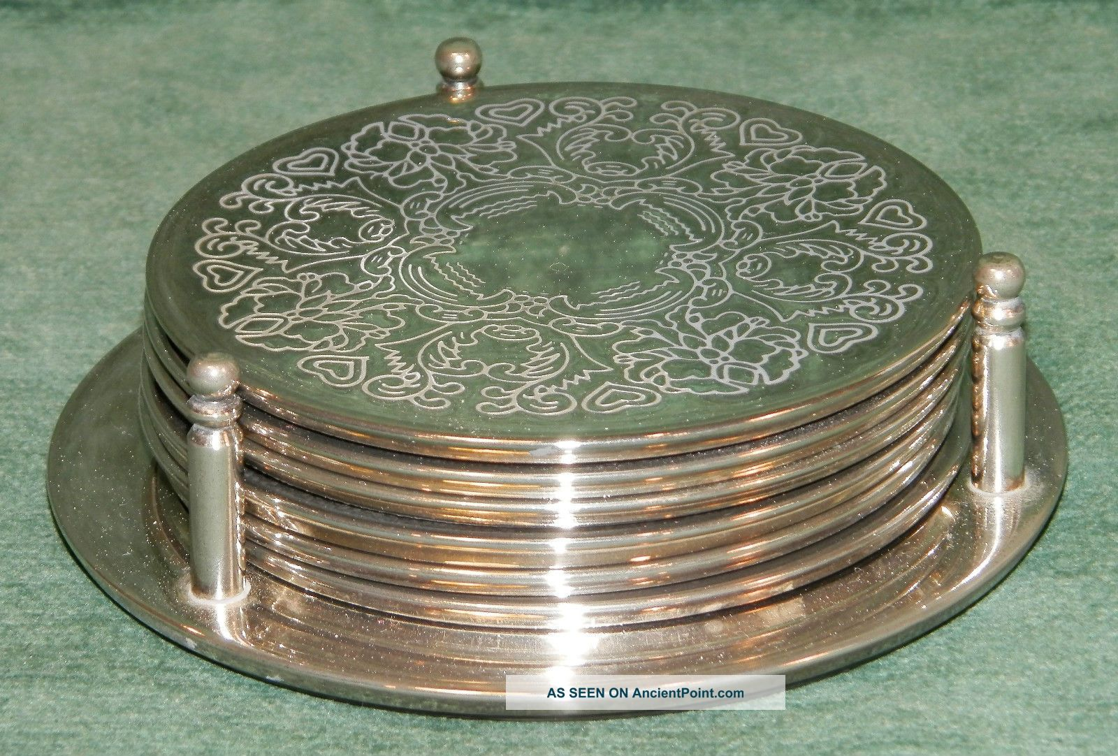 6 X Silver Plated Drinks Coasters & Bottle Stand 9.  5cm Diameter - Chased Dishes & Coasters photo