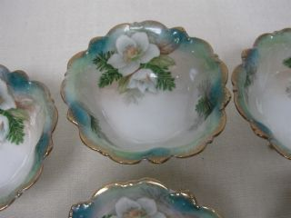 6 Antique Rs Prussia Footed Small Nut Candy Bowls W Hand Painted White Flowers photo