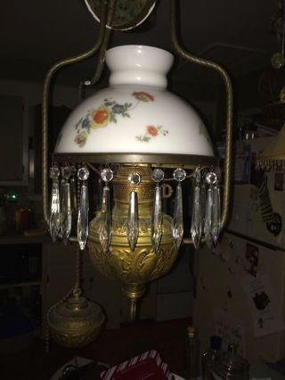 Antique Oil Converted To Elect.  Lamp With Weight Prisms Globe photo