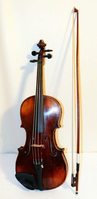 19th Century German Stradivarius Cremonensis Reproduction Inlaid Violin 4/4 photo