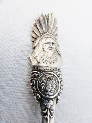 Spectacular Vintage Sterling Silver Souvenir Spoon Niagara Red Jacket Indian photo