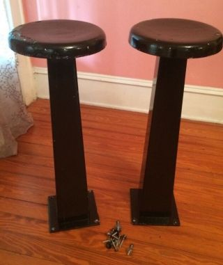 Pair Vtg Antique Art Deco Cast Iron 30 ' S Diner Ice Cream Parlor Bar Stool 30