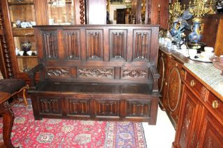 Antique French Gothic Carved Oak Bench / Gun Cabinet photo