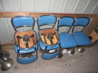7 Vtg Pedestal Soda Fountain Ice Cream Counter Diner Bar Stools Swivel Blue photo