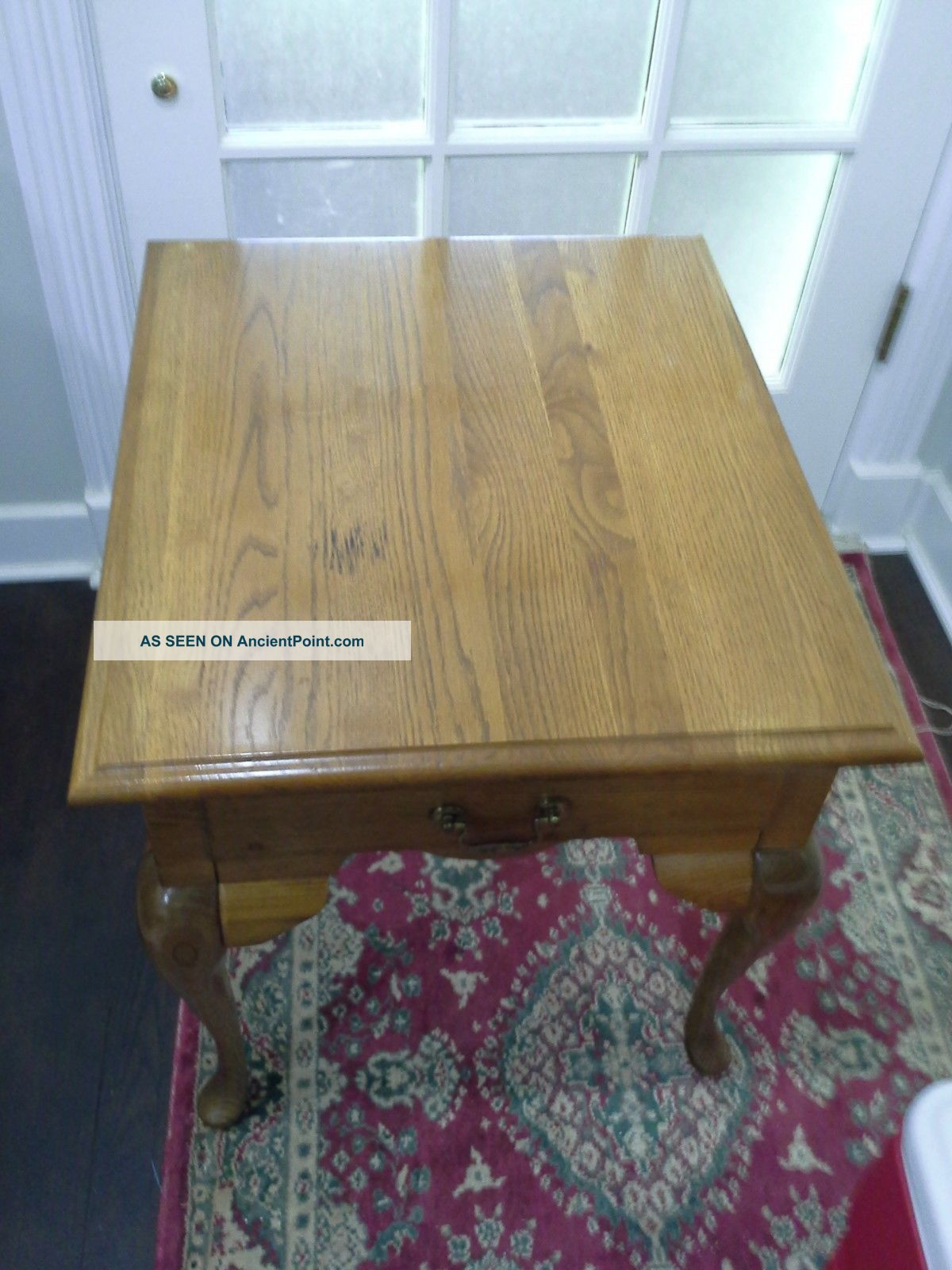 Vintage Table Oak Queen Anne End,  Side With Drawer Usa Unknown photo