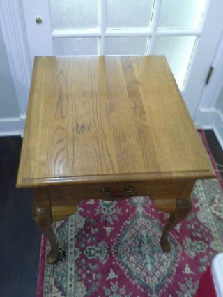 Vintage Table Oak Queen Anne End,  Side With Drawer Usa photo
