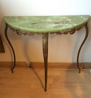 Mid 20th Century Faux Marble Half Moon Side Table photo