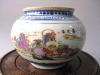 Chinese Picturesque Famille Rose Porcelain Figure Pot C76 photo