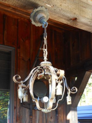 Antique 1920 ' S Achitectual Wrought Iron By Hand Chandelier Victorian Patina photo