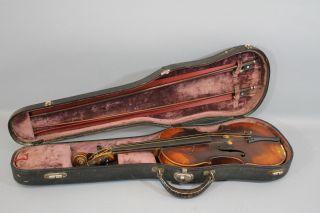 Antique 4/4 Figured Maple Violin,  2 Bows & Case Nr photo