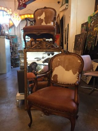 Antique C.  1930s Re - Upholstered Cowhide And Leather Pair Parlor Chairs photo