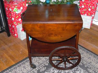 Antique 1800s Mahogany Dropleaf Tea Cart Beverage Serving Cart Wheels Work photo
