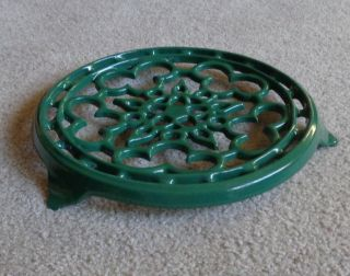 Made In France Green Enameled Cast Iron Trivet Cousances Le Creuset photo